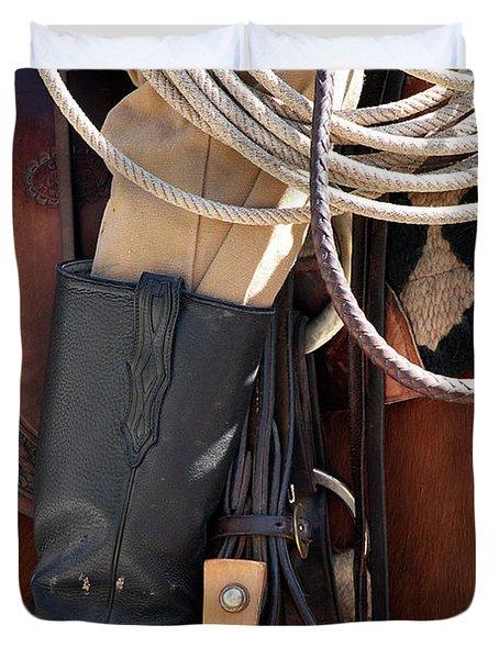 Cowboy Tack Duvet Cover by Joan Carroll