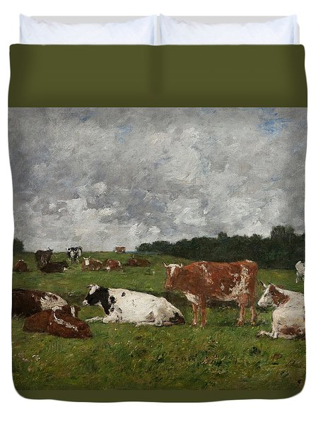 Cows At The Pasture Duvet Cover by Eugene Louis Boudin
