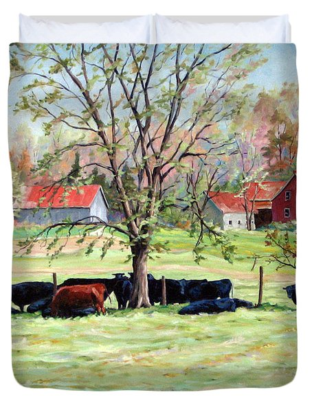 Cows Grazing In One Field  Duvet Cover by Richard T Pranke