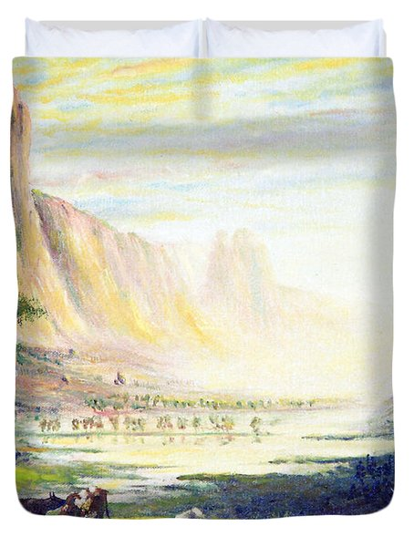 Cows In The Mountain Duvet Cover by Wingsdomain Art and Photography