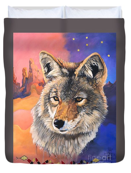 Coyote The Trickster Duvet Cover by J W Baker