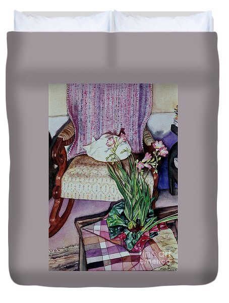 Cozy Kitty Duvet Cover by Cynthia Pride