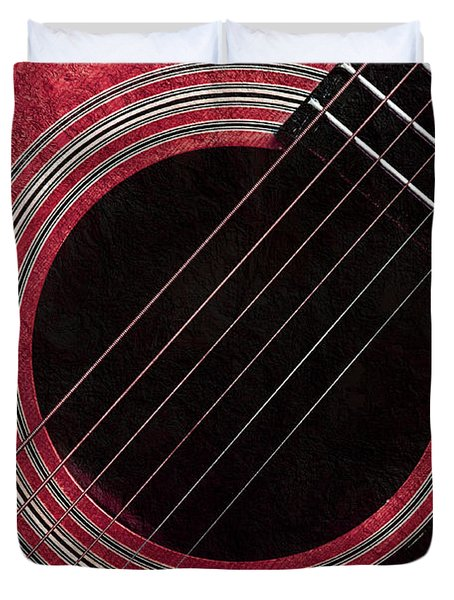Cranberry Guitar Duvet Cover by Andee Design