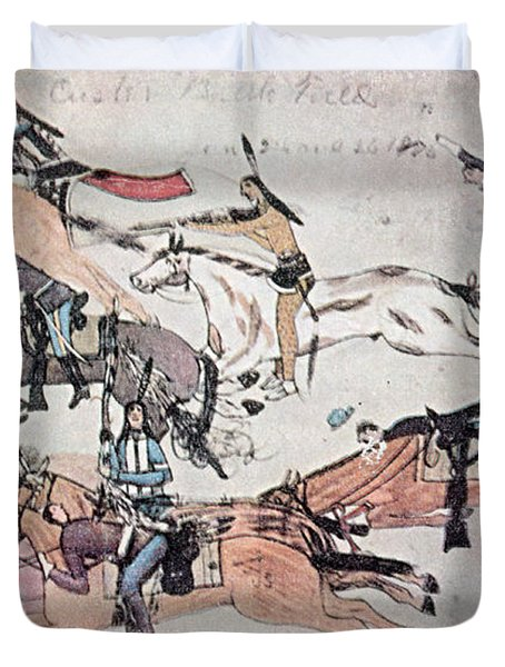 Crazy Horse At The Battle Of The Little Duvet Cover by Photo Researchers