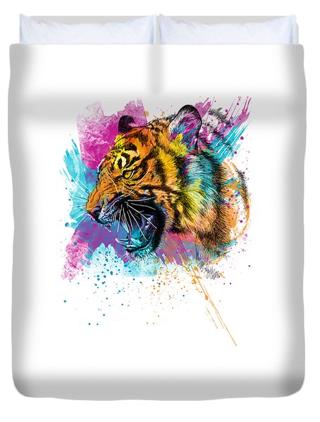 Crazy Tiger Duvet Cover by Olga Shvartsur