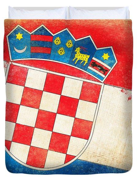 Croatia Flag Duvet Cover by Setsiri Silapasuwanchai