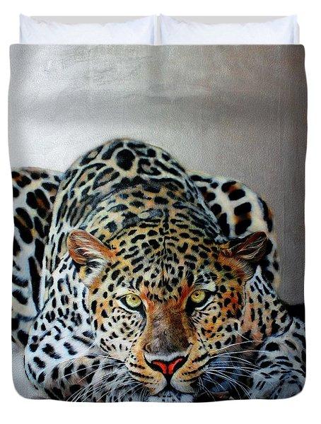 Crouching Leopard Duvet Cover by Susana Falconi