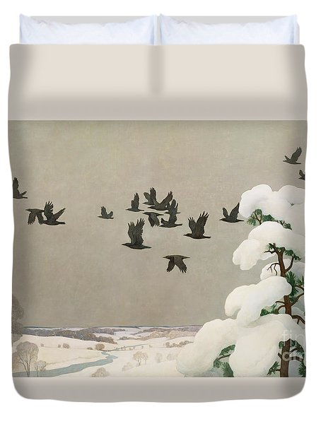 Crows In Winter Duvet Cover by Newell Convers Wyeth
