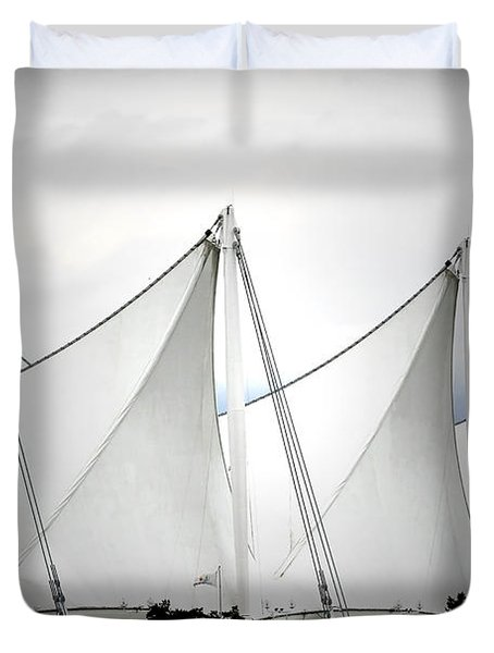 Cruise Ship Terminal Vancouver Canada Duvet Cover by Christine Till