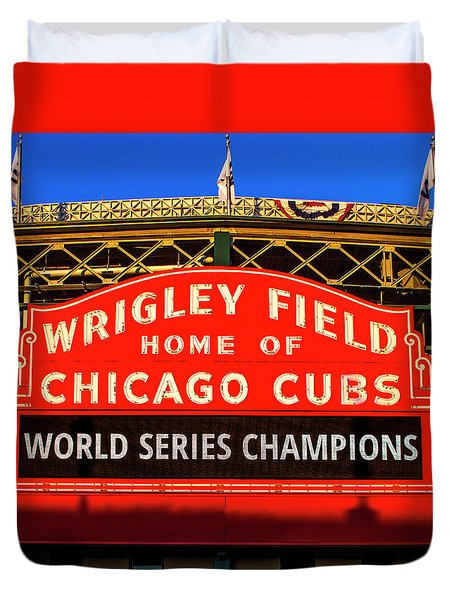 Cubs Win World Series Duvet Cover by Andrew Soundarajan