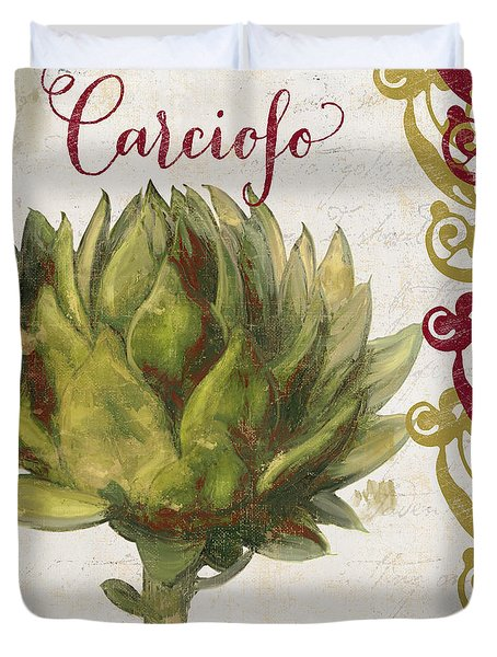 Cucina Italiana Artichoke Duvet Cover by Mindy Sommers