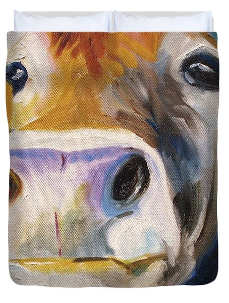 Curious Cow Duvet Cover by Donna Tuten