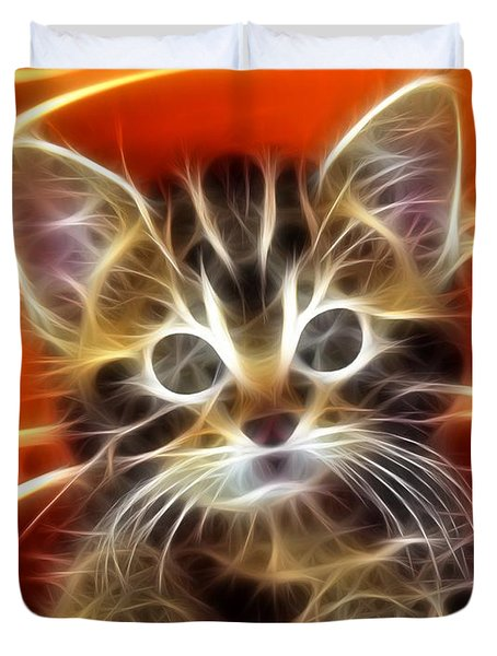 Curious Kitten Duvet Cover by Pamela Johnson