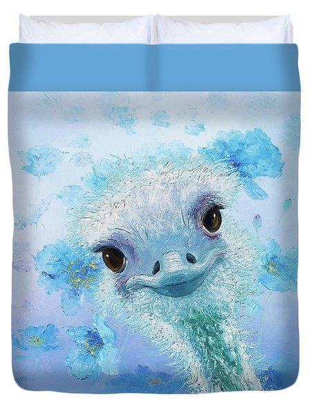 Curious Ostrich Duvet Cover by Jan Matson