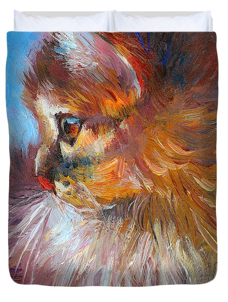 Curious Tubby Kitten painting Duvet Cover by Svetlana Novikova