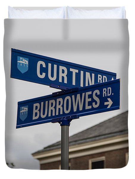 Curtin And Burrowes Penn State  Duvet Cover by John McGraw