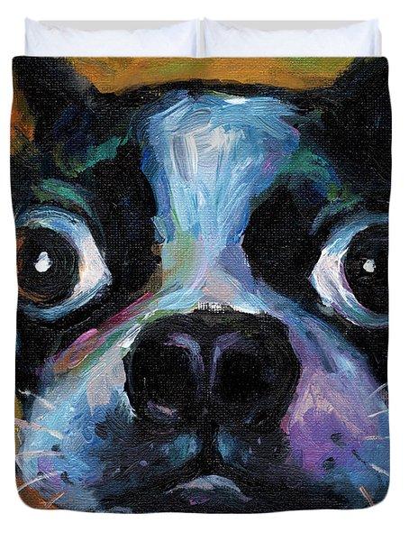 Cute Boston Terrier puppy art Duvet Cover by Svetlana Novikova