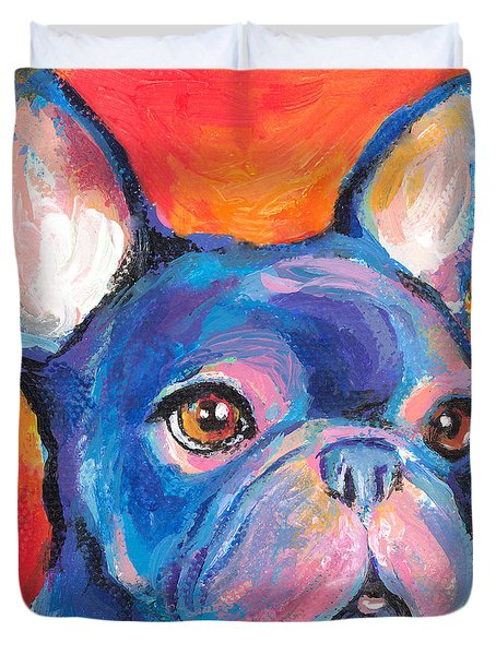 Cute French Bulldog Painting Prints Duvet Cover by Svetlana Novikova