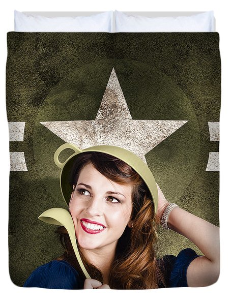 Cute military pin-up woman on army star background Duvet Cover by Ryan Jorgensen