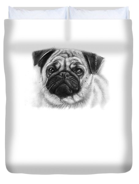 Cute Pug Duvet Cover by Olga Shvartsur