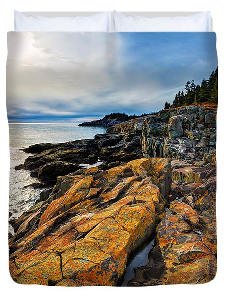 Cutler Coast Lichen Duvet Cover by Bill Caldwell -        ABeautifulSky Photography