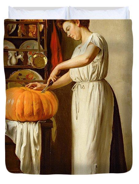 Cutting The Pumpkin Duvet Cover by Franck-Antoine Bail