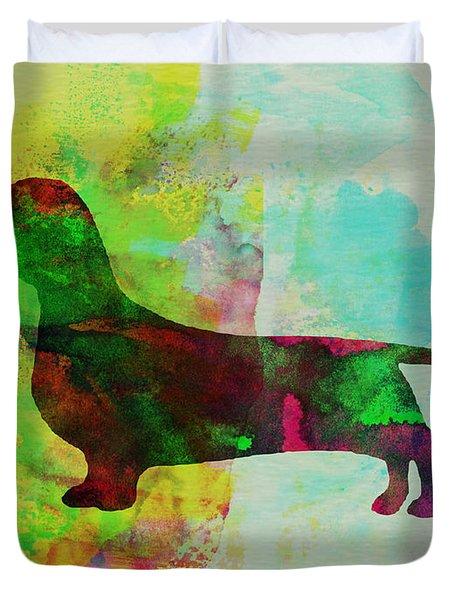 Dachshund Watercolor Duvet Cover by Naxart Studio