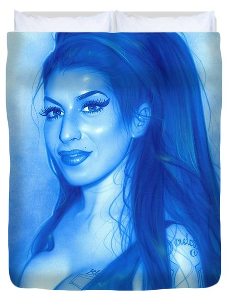 Amy Winehouse - 'daddy's Girl' Duvet Cover by Christian Chapman Art