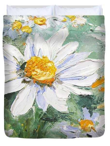 Daisy Delight Palette Knife Painting Duvet Cover by Chris Hobel