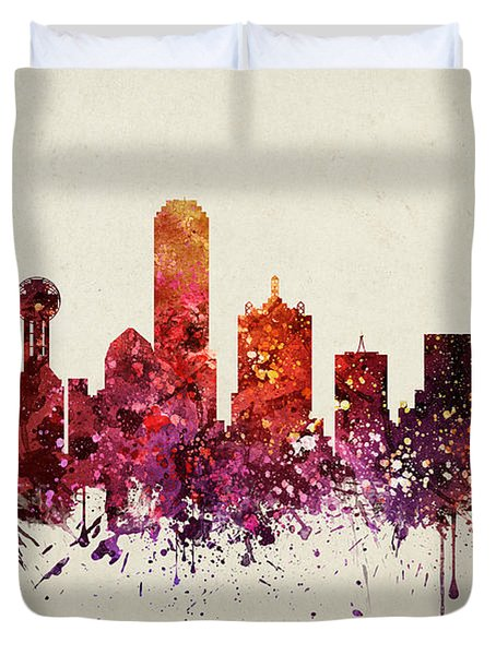 Dallas Cityscape 09 Duvet Cover by Aged Pixel