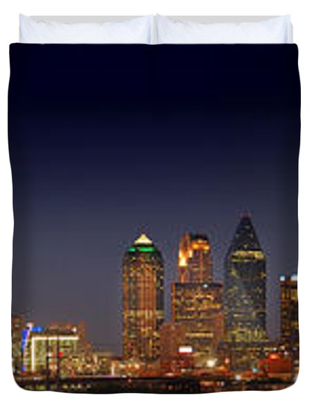 Dallas Skyline At Dusk Big Moon Night  Duvet Cover by Jon Holiday