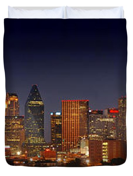 Dallas Skyline At Dusk  Duvet Cover by Jon Holiday