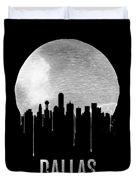 Dallas Skyline Black Duvet Cover by Naxart Studio