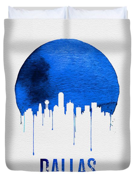 Dallas Skyline Blue Duvet Cover by Naxart Studio