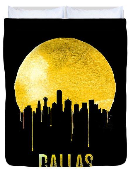 Dallas Skyline Yellow Duvet Cover by Naxart Studio