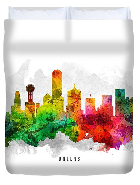 Dallas Texas Cityscape 12 Duvet Cover by Aged Pixel