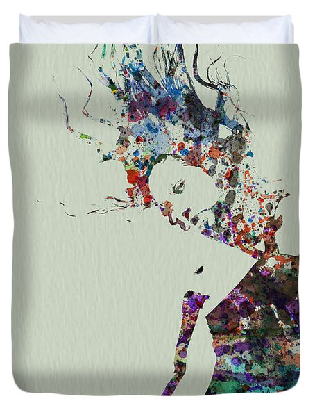 Dancer Watercolor Splash Duvet Cover by Naxart Studio