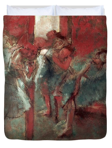 Dancers At Rehearsal Duvet Cover by Edgar Degas