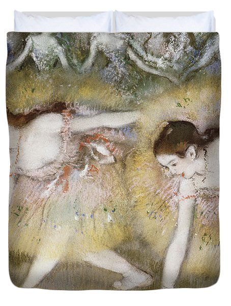 Dancers Bending Down Duvet Cover by Edgar Degas