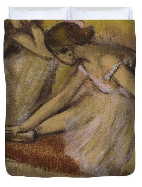 Dancers In Repose Duvet Cover by Edgar Degas
