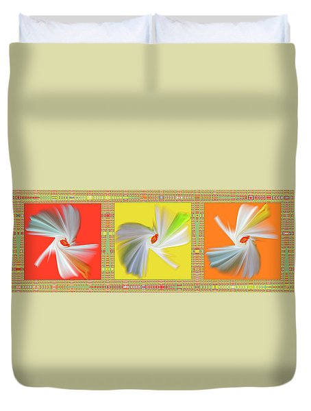 Dancing Flower Trio Duvet Cover by Ben and Raisa Gertsberg