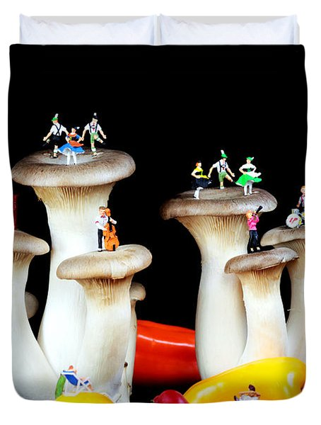 Dancing show on mushroom Duvet Cover by Paul Ge