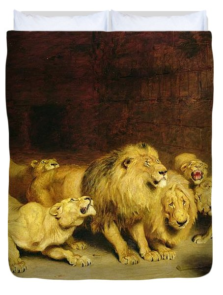 Daniel In The Lions Den Duvet Cover by Briton Riviere