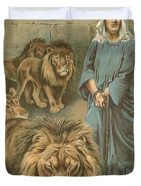 Daniel In The Lions Den Duvet Cover by John Lawson