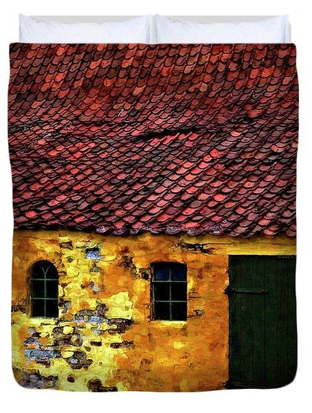 Danish Barn Watercolor Version Duvet Cover by Steve Harrington