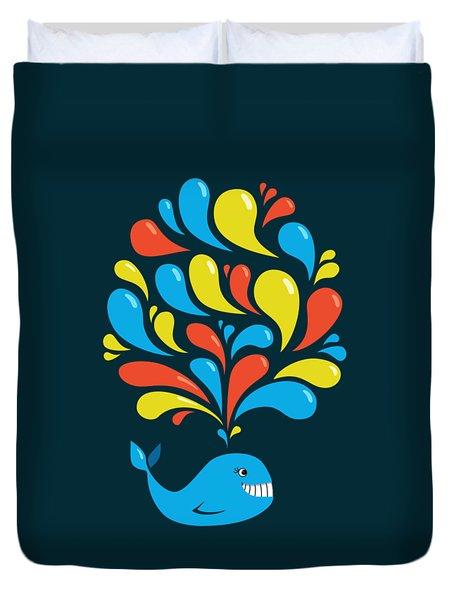 Dark Colorful Splash Happy Cartoon Whale Duvet Cover by Boriana Giormova
