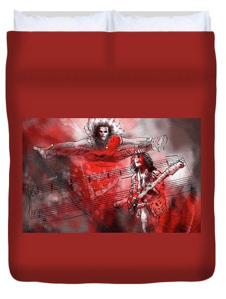 David Lee Roth And Eddie Van Halen Jump Duvet Cover by Miki De Goodaboom