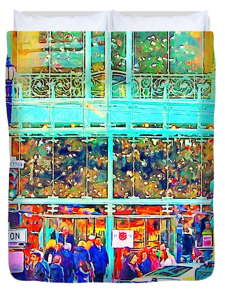 Day Before Christmas at Neiman Marcus . Photoart Duvet Cover by Wingsdomain Art and Photography