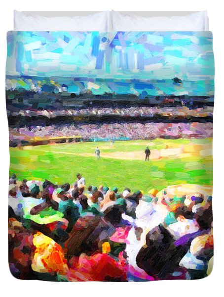 Day Game At The Old Ballpark Duvet Cover by Wingsdomain Art and Photography