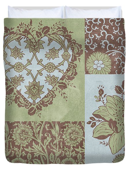 Deco Heart Sage Duvet Cover by JQ Licensing